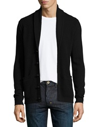 John Varvatos Shawl Collar Waffle Knit Cardigan Black