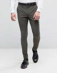 Selected Homme Super Skinny Suit Trouser In Khaki Khaki Green