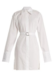 Helmut Lang Striped Tie Waist Cotton Shirtdress White