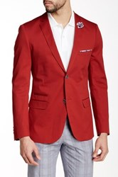Paisley And Gray Red Solid Modern Fit Notch Lapel Blazer