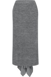 Stella Mccartney Draped Stretch Knit Skirt Gray