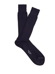 Paul Smith Cotton Ribbed Knit Socks Navy