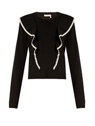 Chloe Cashmere And Cotton Blend Frilled Sweater Black