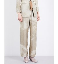 Cherevichkiotvichki Relaxed Fit Silk Trousers Faded Olive