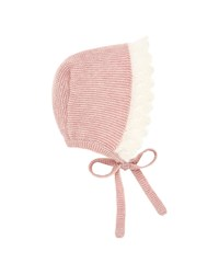 Pili Carrera Two Tone Knit Baby Bonnet With Mohair Trim Pink