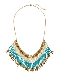 Panacea Fringe Beaded Bib Necklace Turquoise White Golden