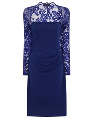 Hotsquash Lace Sleeved Dress In Clever Fabric Royal Blue Marl