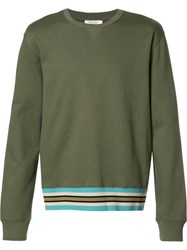 Valentino Striped Hem Sweatshirt Green