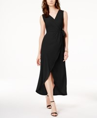 Inc International Concepts I.N.C. Faux Wrap Tulip Hem Dress Created For Macy's Black