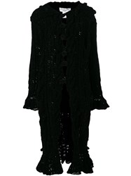 Christian Dior Vintage Chenille Knitted Long Coat Black