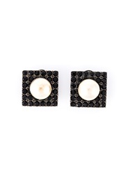 Yves Saint Laurent Vintage Square Earrings Metallic