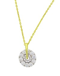 Frederic Sage 18K White And Yellow Gold Firenze Small Spinning Diamond Cluster Pendant Necklace 16 White Gold