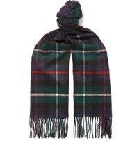 Johnstons Of Elgin Fringed Checked Cashmere Scarf Green