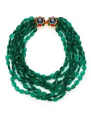 Kenneth Jay Lane Multi Strand Beaded Necklace Green Multi
