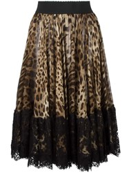Dolce And Gabbana Leopard Print Pleated Skirt Nude Neutrals