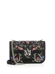 Alexander Mcqueen Insignia Floral Embroidered Leather Chain Satchel