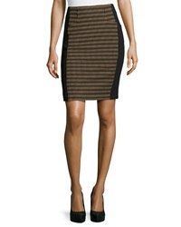 Nanette Lepore Oval Jacquard Paneled Pencil Skirt Camel Black