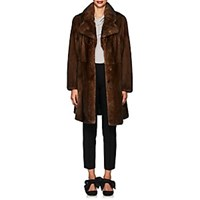 Mink Fur A Line Coat Brown
