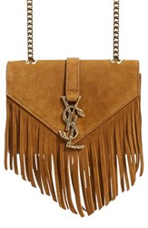 Saint Laurent 'Small Monogram Serpent' Fringe Suede Crossbody Bag