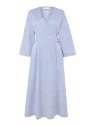 Ivy And Oak Pleat Skirt Dress With 3 4 Sleeve Wrap Top Blue
