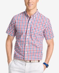Izod Non Iron Plaid Woven Short Sleeve Shirt Real Red