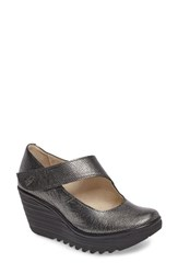 Fly London Women's 'Yasi' Wedge Pump Silver Black Leather