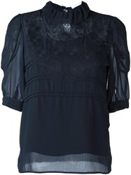 See By Chloe Floral Embroidered Blouse Blue