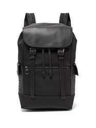 Bottega Veneta Intrecciato Leather Trimmed Backpack Black