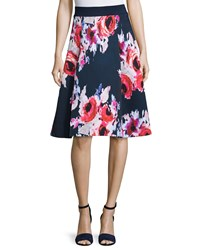 Kate Spade Floral Print A Line Midi Skirt Ink Multi