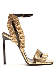 Saint Laurent Edie Ruffle Trimmed Leather Sandals Black Gold