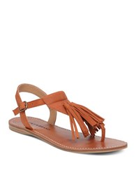Lucky Brand Anneke Leather Flat Sandals Brown