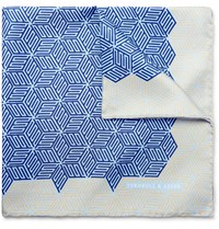 Turnbull And Asser Printed Silk Twill Pocket Square Blue