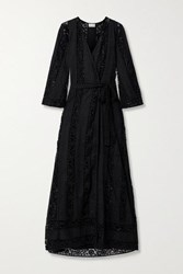 Miguelina Lucinda Cotton Guipure Lace Robe Black