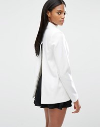 Lavish Alice Tie Front Metal Lapel Trim Split Back Blazer Off White