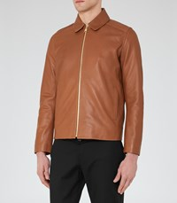Reiss Dauphine Mens Collared Leather Jacket In Brown