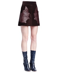 Chloe Paisley Embroidered Suede Mini Skirt Dark Brown
