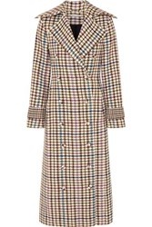 Emilia Wickstead Elvira Houndstooth Tweed Coat Brown