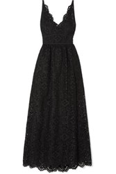 Elie Saab Cotton Blend Broderie Anglaise Maxi Dress Black