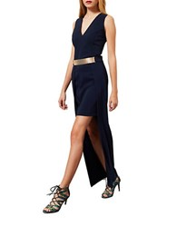 Miss Selfridge Plunging Neck Hi Lo Maxi Dress Navy