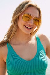 Urban Outfitters Costa Translucent Aviator Sunglasses Yellow