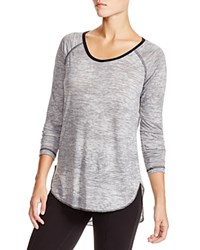 Nation Ltd. Nation Ltd Dani Heathered Jersey Baseball Tee Grey Black