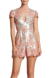 Dress The Population Women's Sabrina Embroidered Sequin Romper Pink Matte Silver