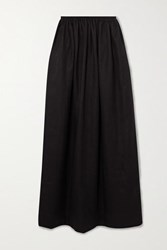 Matteau Pleated Linen And Cotton Blend Maxi Skirt Black
