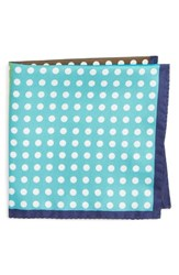 Eton Men's Dot Silk Pocket Square Green