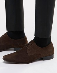 Asos Derby Shoes In Suede Brown
