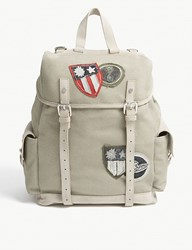 Eleventy Canvas And Suede Backpack Green