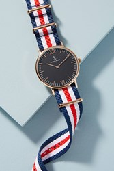 Anthropologie Racer Striped Watch Red