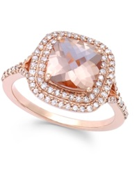 Effy Collection Blush By Effy Morganite 1 7 10 Ct. T.W. And Diamond 3 8 Ct. T.W. Ring In 14K Rose Gold Pink