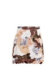 Ashish Patchwork Effect Sequinned Mini Skirt Brown Multi
