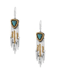Steve Madden Turquoise Two Tone Fringed Ball Beaded Triangle End Drop Earrings Silver